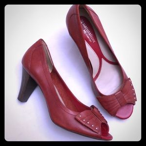 NATURALIZER Sz 10 Red Leather Peep Toe Pumps